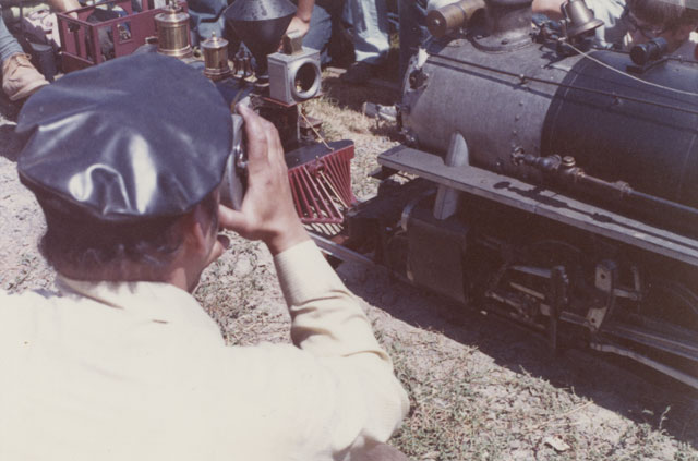 Barry Garland shooting 16mm movie of the first Golden Spike cermony.